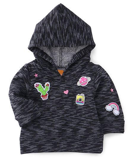 Little Kangaroos Full Sleeves Hooded Sweatshirt Camera & Heart Design - Black