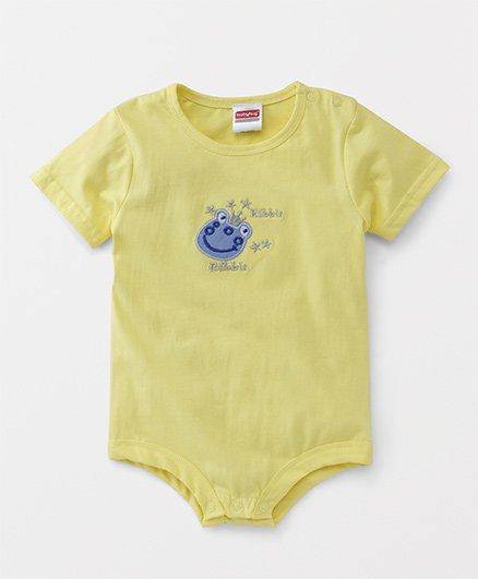 Babyhug Short Sleeves Onesie Animal Embroidery - Yellow