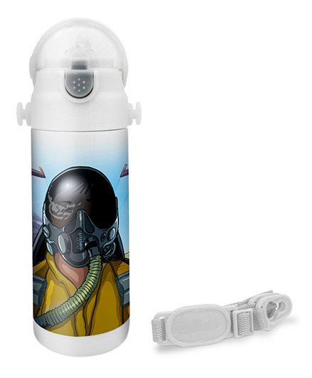 Hot Muggs Pilot Print Insulated Stainless Steel Sipper Water Bottle - 350 ml