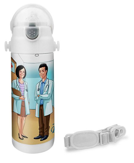Hot Muggs Doctor Print Insulated Stainless Steel Sipper Water Bottle - 350 ml