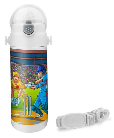 Hot Muggs Cricketer Print Insulated Stainless Steel Sipper Water Bottle - 350 ml