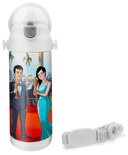 Hot Muggs Actor Print Insulated Stainless Steel Sipper Water Bottle - 350 ml