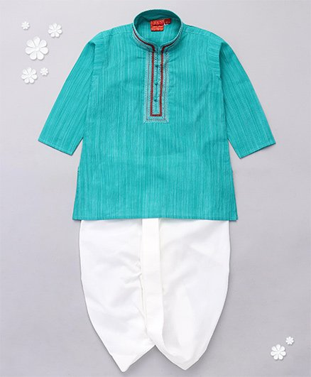 Ethniks Neu Ron Full Sleeves Kurta With Dhoti - Green White