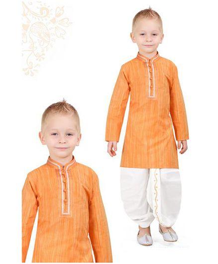 Ethniks Neu Ron Full Sleeves Kurta With Dhoti - Orange White