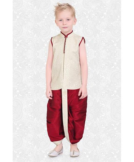 Ethniks Neu Ron Sleeveless Kurta And Dhoti Self Design - Gold & Red