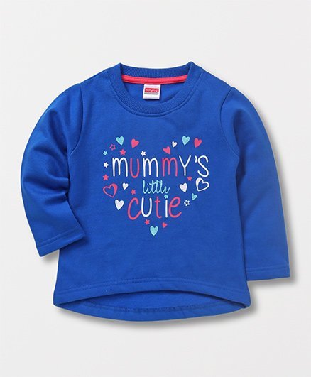 Babyhug Full Sleeves Sweatshirt Heart Print - Blue