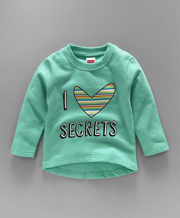 Babyhug Full Sleeves Sweatshirt I Love Secrets Print - Aqua Blue