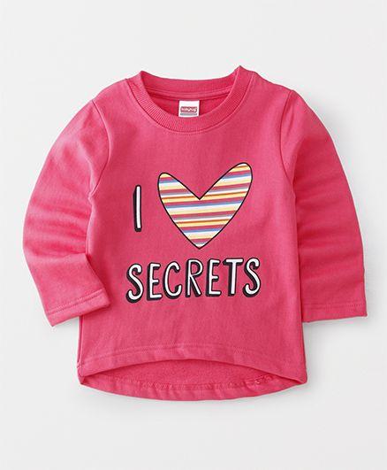 Babyhug Full Sleeves Sweatshirt I Love Secrets Print - Pink