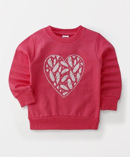Babyhug Full Sleeves Sweatshirt Feather Design - Pink