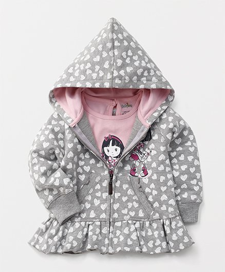 Babyhug Full Sleeves Hooded Jacket With Printed Tee - Grey Pink
