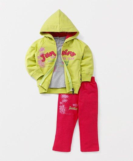 Babyhug Jacket T-Shirt And Lounge Pants Set - Green Pink