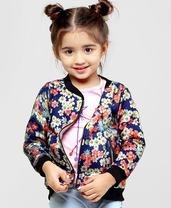 Babyhug Full Sleeves Floral Printed Sweat Jacket - Navy