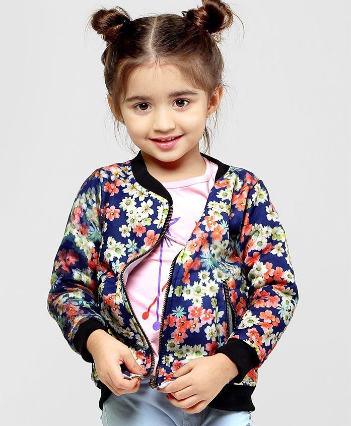 Babyhug Full Sleeves Floral Printed Sweat Jacket - Navy