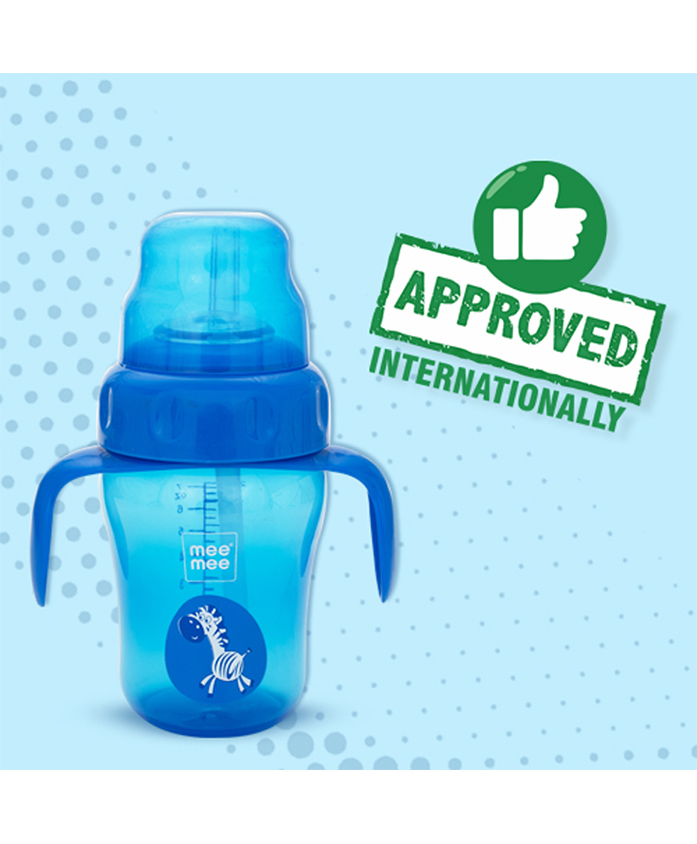 Mee Mee Sipper Cup With Spout And Straw Blue - 210 ml