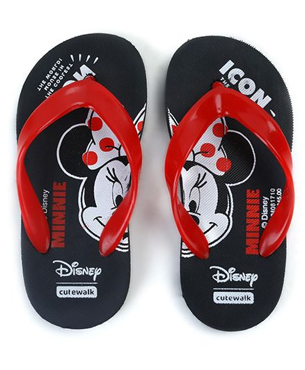 Cute Walk by Babyhug Flip Flops Minnie Mouse Print - Black Red