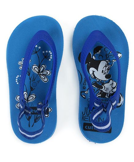 Cute Walk by Babyhug Flip Flops Minnie Mouse Print - Blue