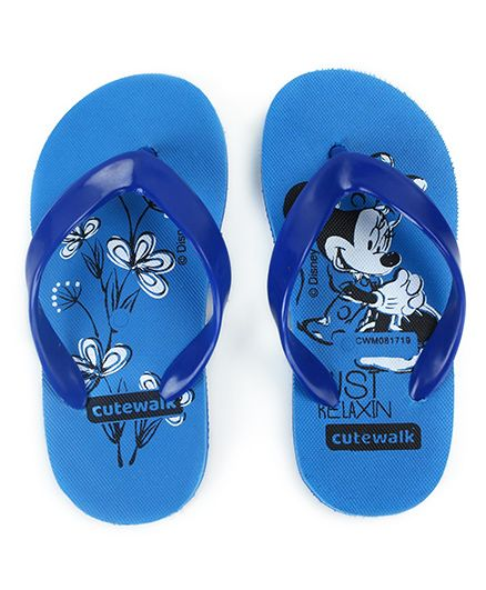 Cute Walk by Babyhug Flip Flops Minnie Print - Blue