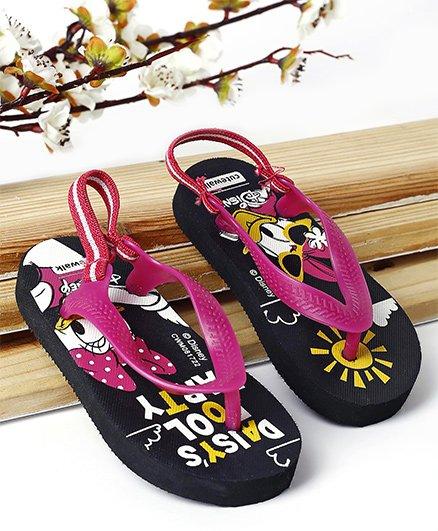 Cute Walk by Babyhug Flip Flop With Back Strap Daisy Duck Print - Black & Pink