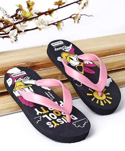 Cute Walk by Babyhug Flip Flop Daisy Duck Print - Black & Pink