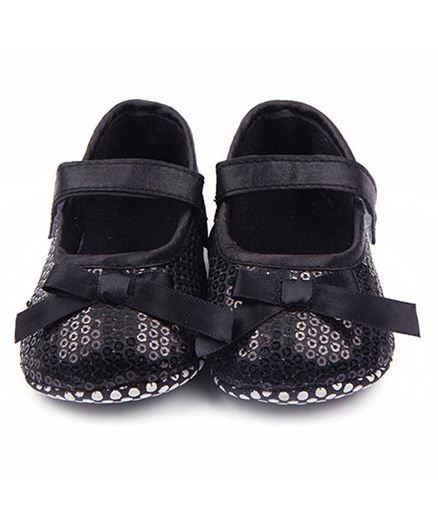 Bellazaara Sequins Bow Mary Jane Crib Shoes - Black