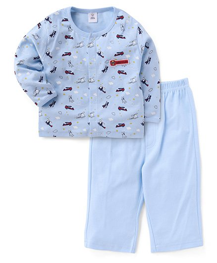 ToffyHouse Full Sleeves Night Suit Airplane Print - Light Blue
