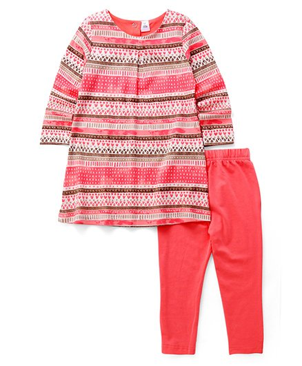 ToffyHouse Full Sleeves Tunic & Leggings Set - Pink