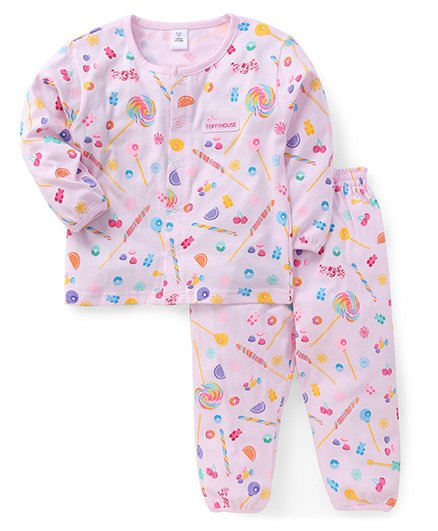 ToffyHouse Full Sleeves Night Suit Fruits & Candy Print - Light Pink