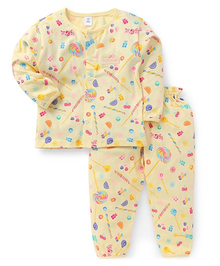 ToffyHouse Full Sleeves Night Suit Fruits & Candy Print - Light Yellow