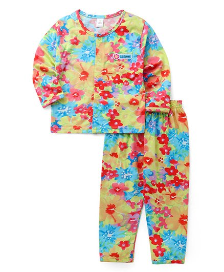 ToffyHouse Full Sleeves Night Suit Floral Print - Multicolor