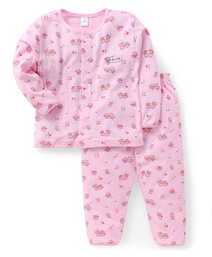 ToffyHouse Full Sleeves Night Suit All Over Owl Print - Pink