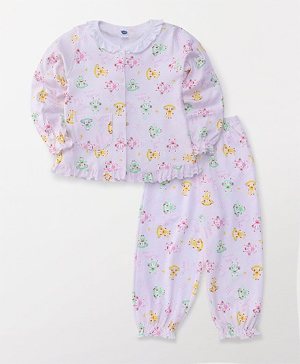 Teddy Full Sleeves Night Suit All Over Monkey Print - White & Pink