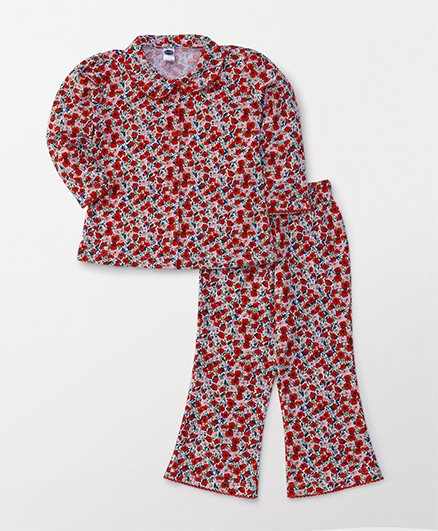Teddy Full Sleeves Night Suit All Over Floral Print - Red
