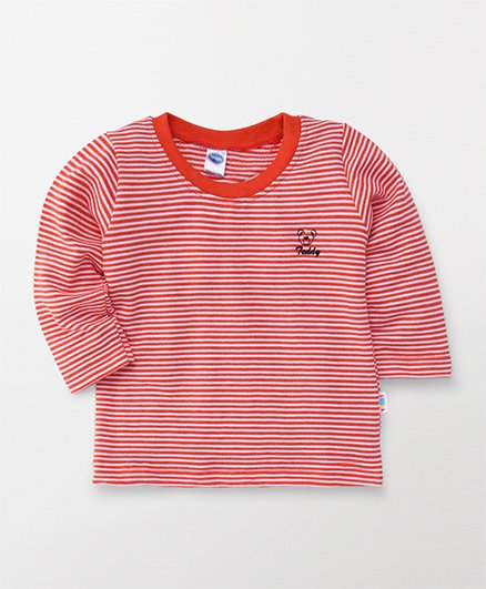 Teddy Full Sleeves T-Shirt Stripes Print - Cherry Red