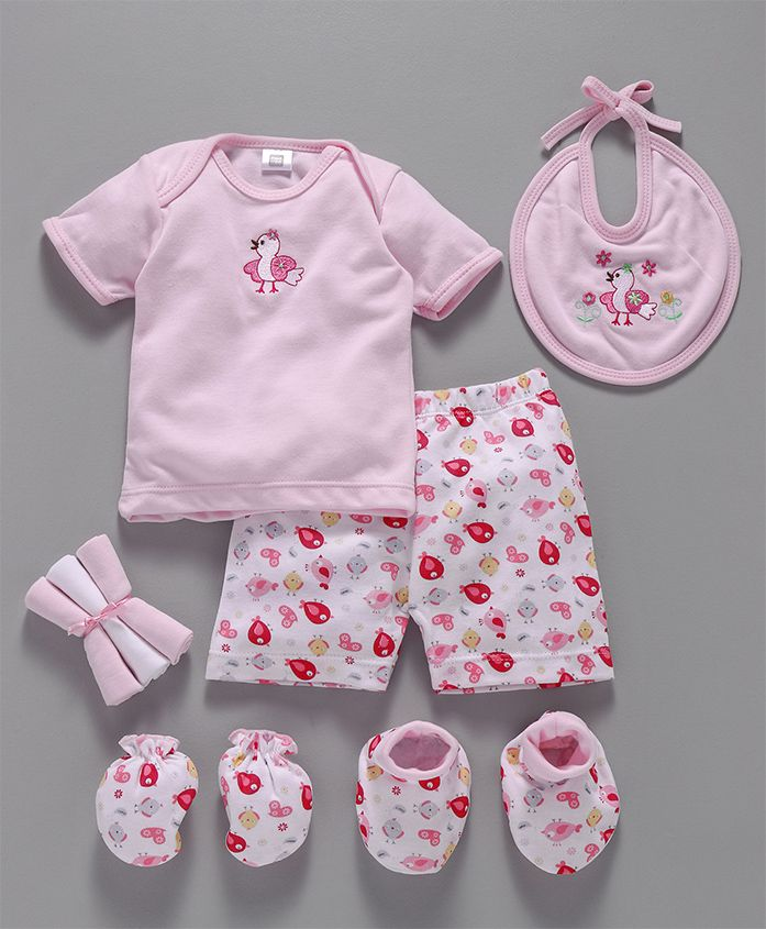 Mee Mee Clothing Gift Set Sparrow Print & Emboidery Pink - Pack Of 8