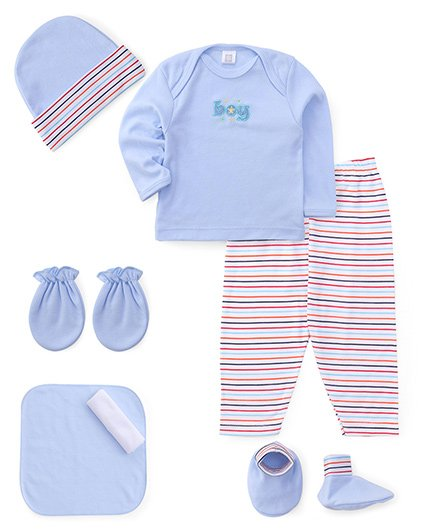 Mee Mee Clothing Gift Set Boy Embroidery Blue - Pack Of 7