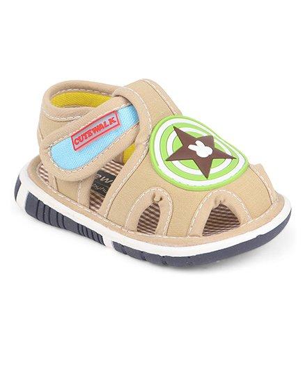 Cute Walk by Babyhug Sandals Star Patch - Khaki