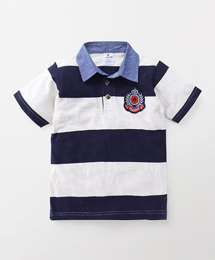 Ollypop Half Sleeves Tee Stripe Print - White Navy Blue