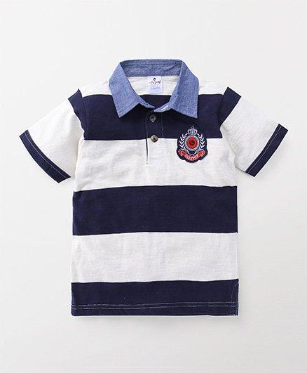 Ollypop Half Sleeves Tee Stripe Print - White Navy Blue