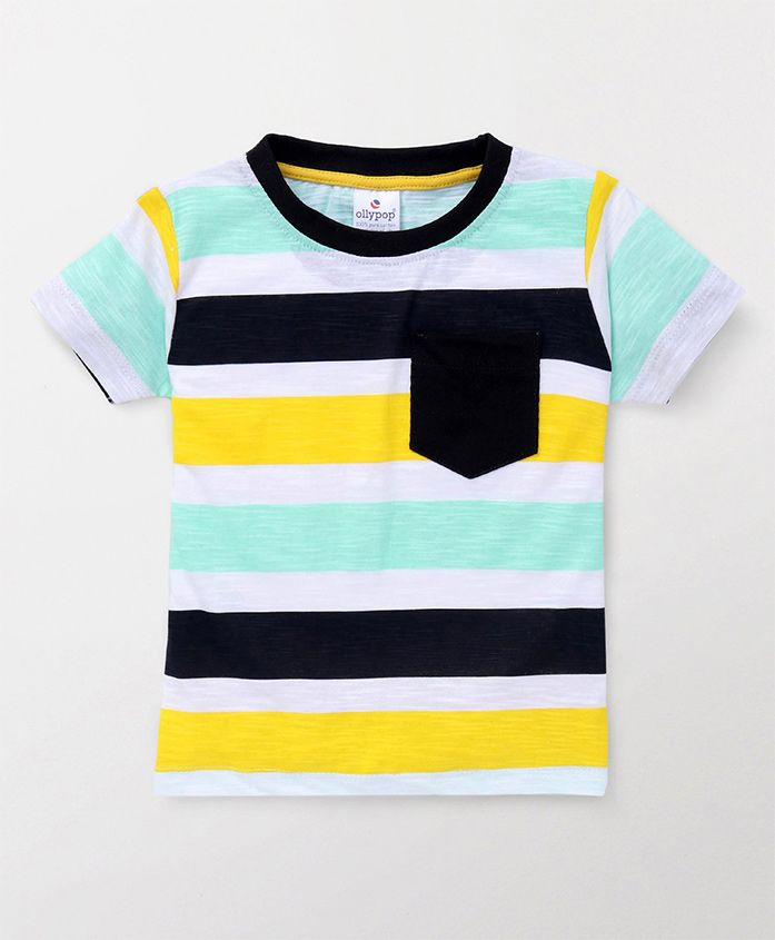 Ollypop Half Sleeves Tee Stripes Print - Blue Yellow Green