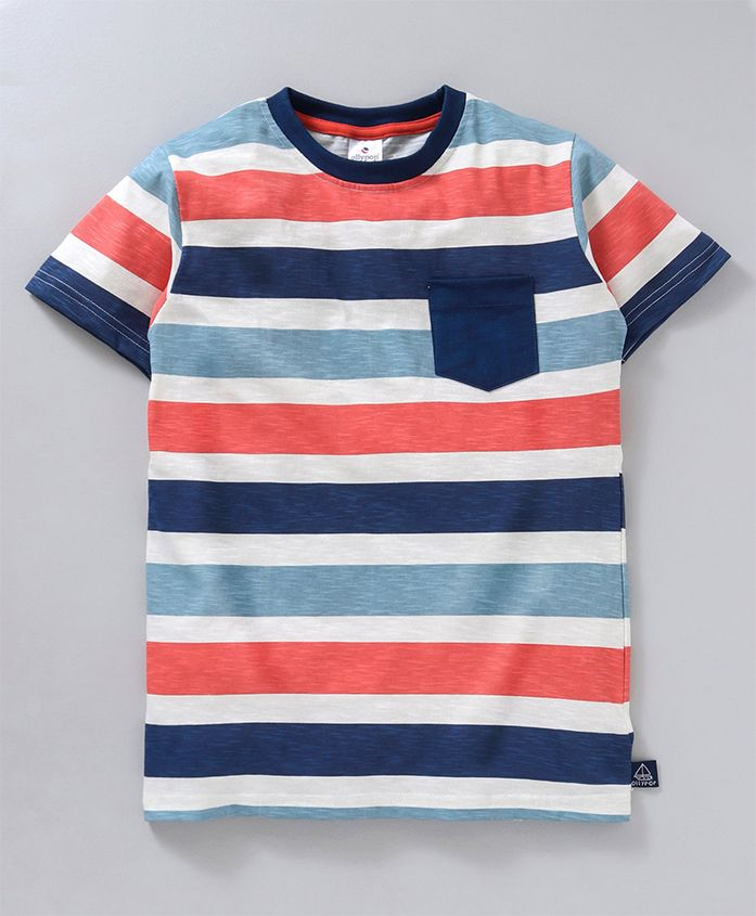 Ollypop Half Sleeves Tee Stripes Print - Blue Orange
