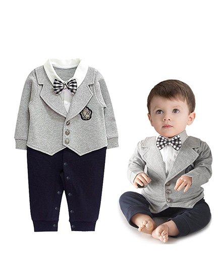 Pre Order - Superfie Partywear Romper With Mock Coat - Grey & Navy Blue