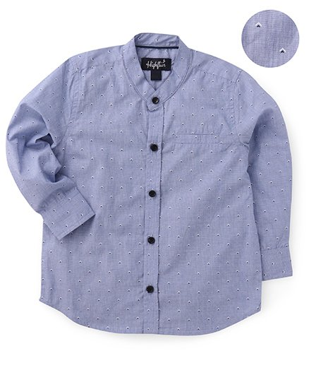 Highflier Mandarin Collar Full Sleeves Shirt - Blue