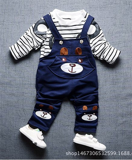 Pre Order - Superfie Full Sleeves Striped Tee With Dog Design Dungaree - Black & Navy Blue