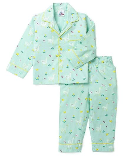 Lilpicks Couture� Swans Printed Nightwear - Sea Green