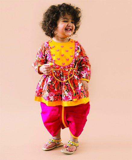 Tiber Taber Phulwari Heartbeat Pink Angrakha & Dhoti Set - Multicolour & Pink