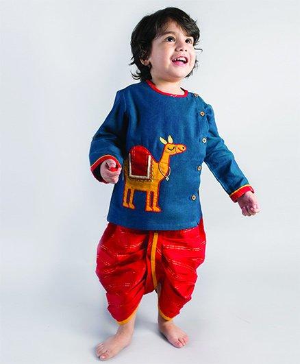 Tiber Taber Camel Design Dhoti Kurta Set - Blue & Red