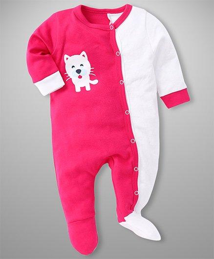 Morisons Baby Dreams Side Open Romper Kitty Print - Pink White