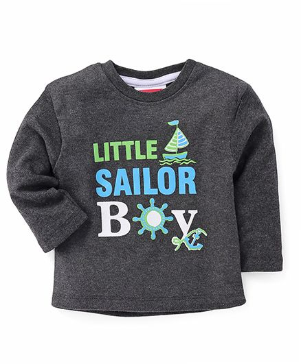 Morisons Baby Dreams Full Sleeves T-shirt Little Sailor Boy Print - Dark Grey