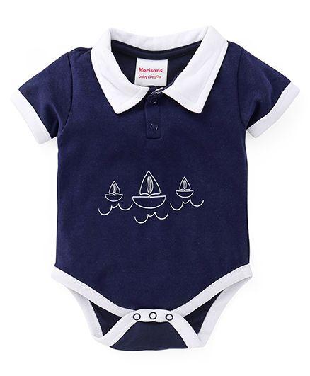 Morisons Baby Dreams Half Sleeves Onesie Ship Print - Blue