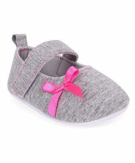 Morisons Baby Dreams Baby Booties Ribbon Bow - Grey